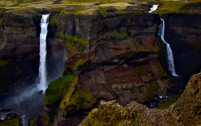 Beautiful Double Waterfalls of Haifoss,