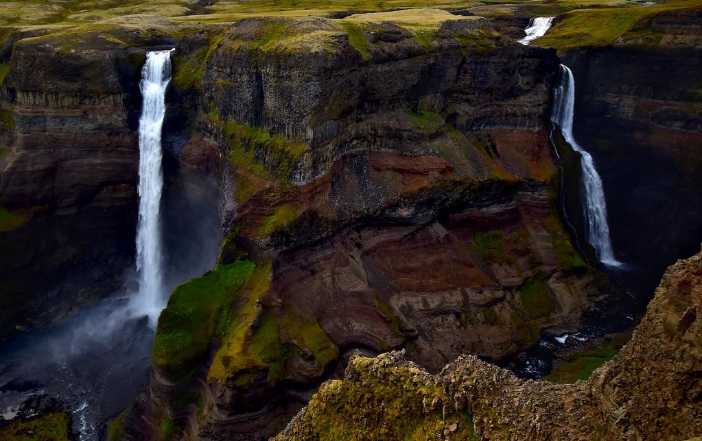 Beautiful Double Waterfalls of Haifoss,