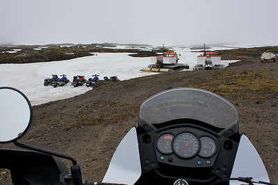I drove the motorcycle as far as I could go. The glacier stopped me. If I would've had the key to one of these sleds I could've made it all the way to the top.