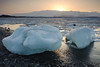 Icebergs from the Breidamerkurjokull Glacier at Sunset over Jokulsarlon Lagoon - Southwest Coast of Iceland - Darren Stratemeier - March 2012