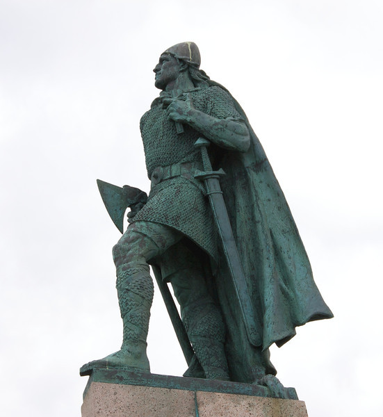 This is a statue of Leif Erickson  in Iceland. His father was Eric the Red. Leaf discovered America around the year 1000 A.D.