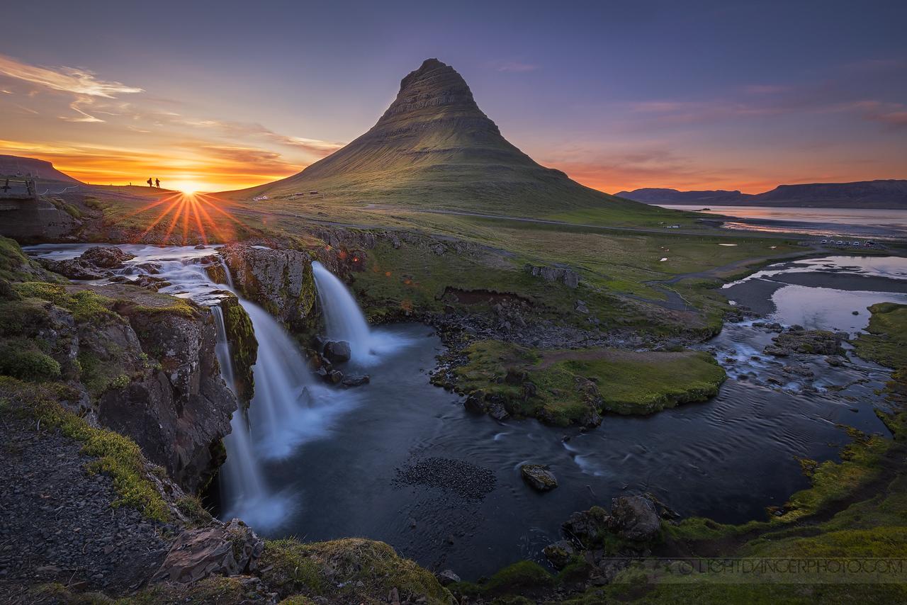 Kirkjufell and Kirfjufellfoss at sunset, Iceland