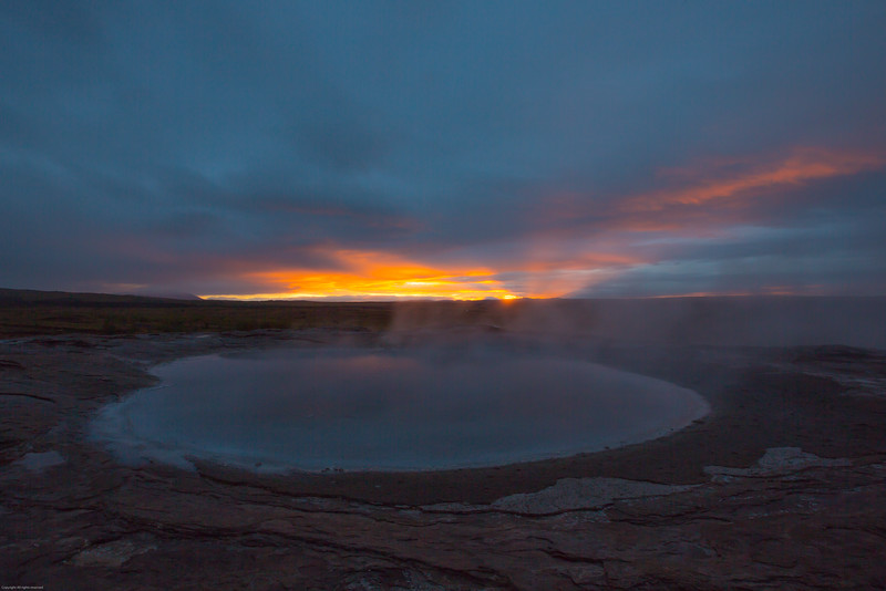 Geothermal pool at sunrise - Geysir