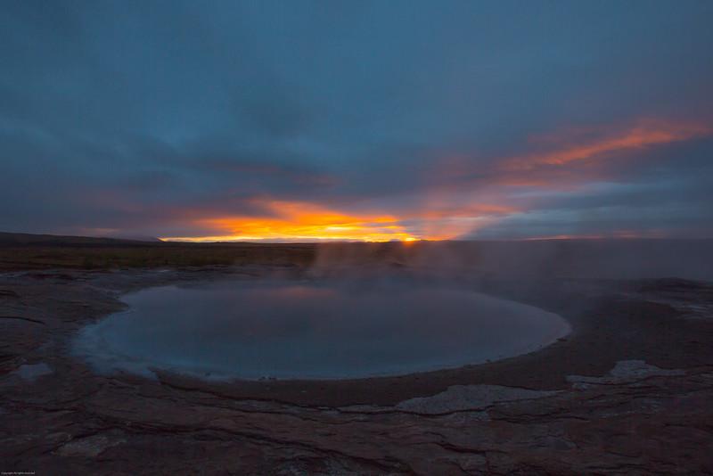 Geothermal pool at sunrise - Geysir