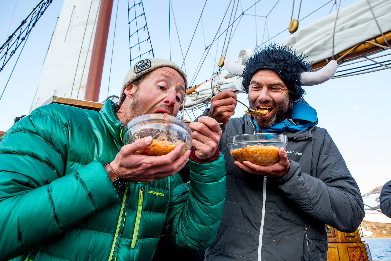 Forrest & Kohl eating epic iceland stew after a 12 day on snow