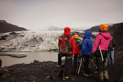 Many people strap on crampons with guides and walk up and on the glacier