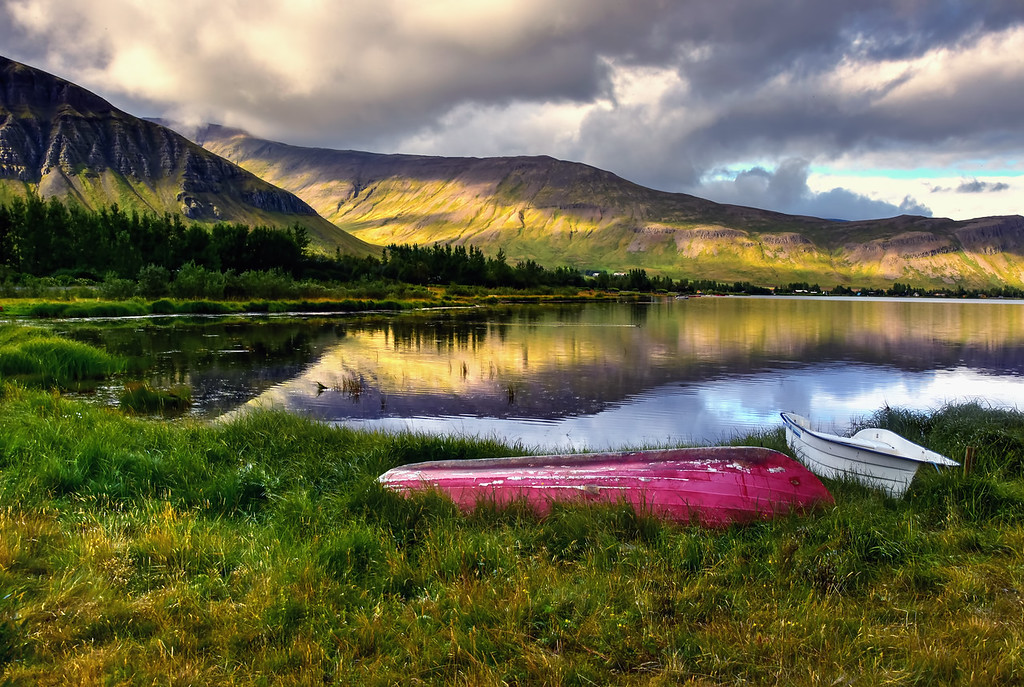 Kayaks on the shore of Meðalfellsvatn Lake, Iceland