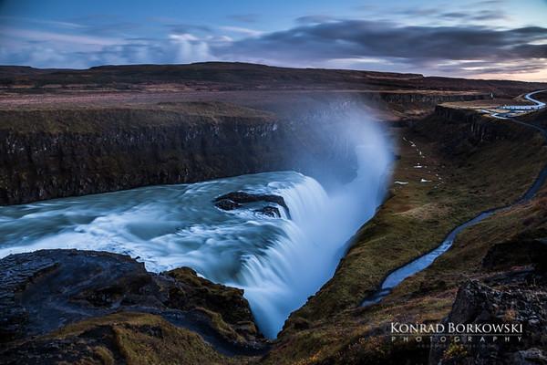 Gullfoss Waterfall, Late evening / night photo