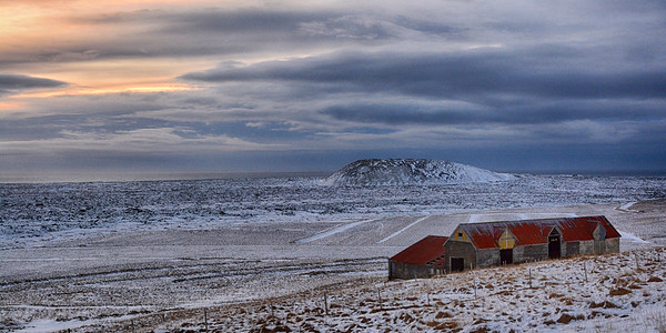 Barn and sunrise and Landscape
