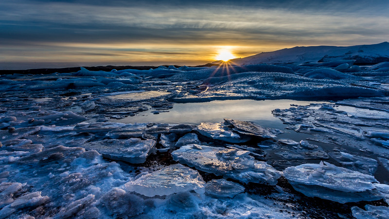 Sunset Fire and Ice, Jokulsarlon Iceberg Beach - Iceland - Joe Maciejko - February 2015