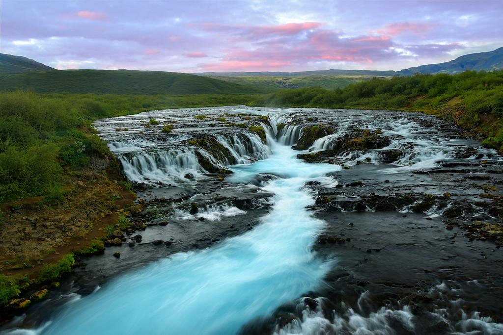 Bruarfoss Waterfall at sunset, Iceland
