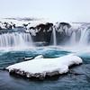 Godafoss Waterfall and Snowy Island