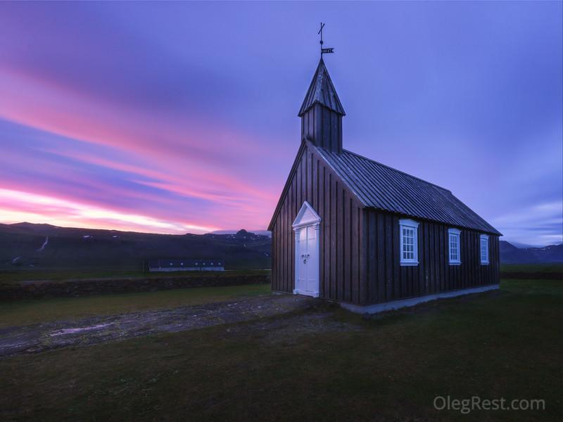 Sunrise near black church