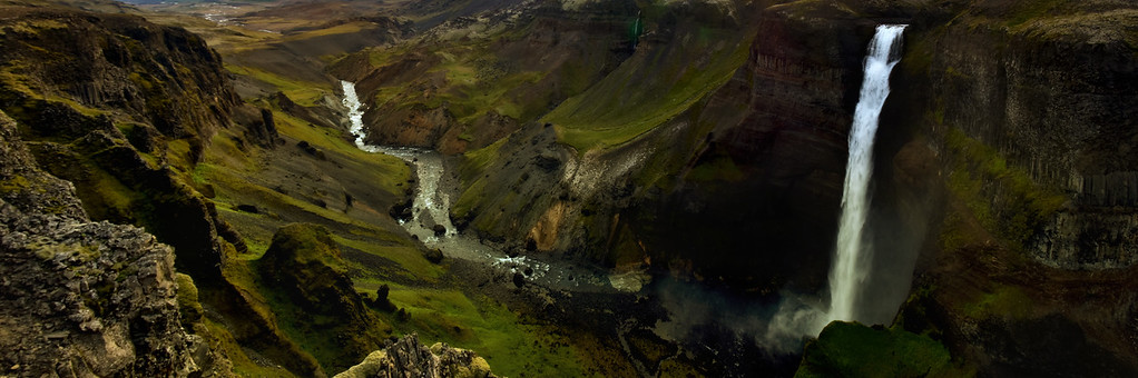Panoramic view of Haifoss Waterfall, Iceland