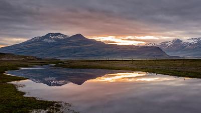 Midnight Sun Over Eastern Iceland