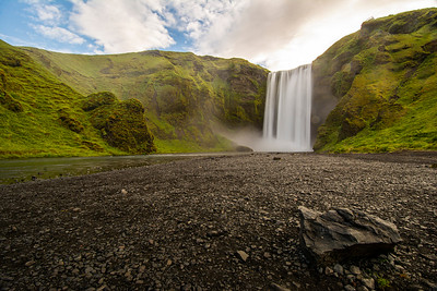 Skogafoss waterfall in the early morning