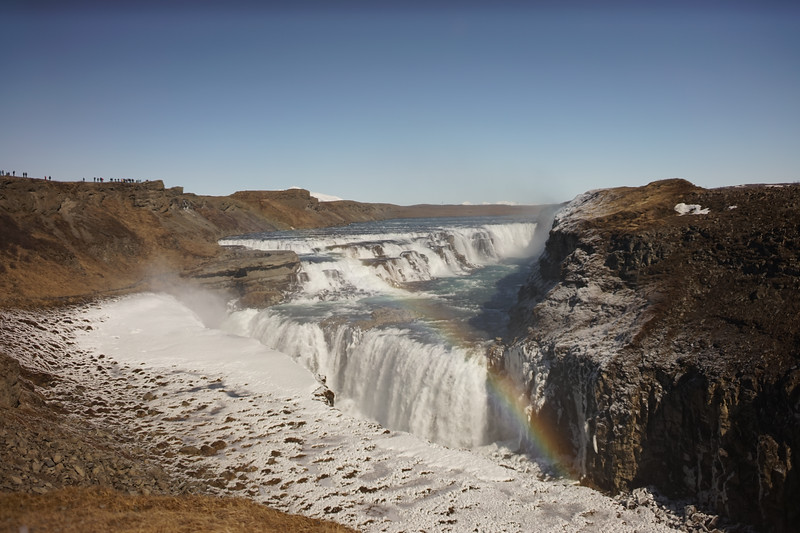 Gullfoss...see the people for scale. The wind was blowing so hard and everything was coated (including us) in icy crystals. You could barely breathe it was so cold!