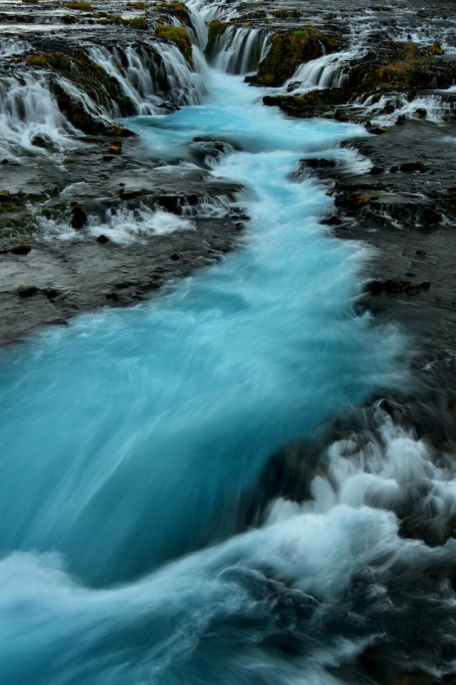 Vertical shot of Bruarfoss Waterfall, Iceland