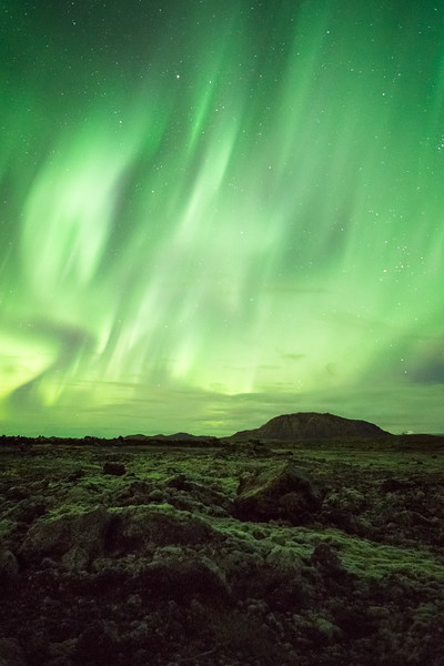 Northern Lights over Lava Field