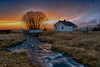 House at end of the falls and lovely sunset - HDR