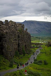 The Oxarfoss Waterfall at Thingvellir National Park is situated on the tectonic plate boundaries of the Mid Atlantic Ridge.