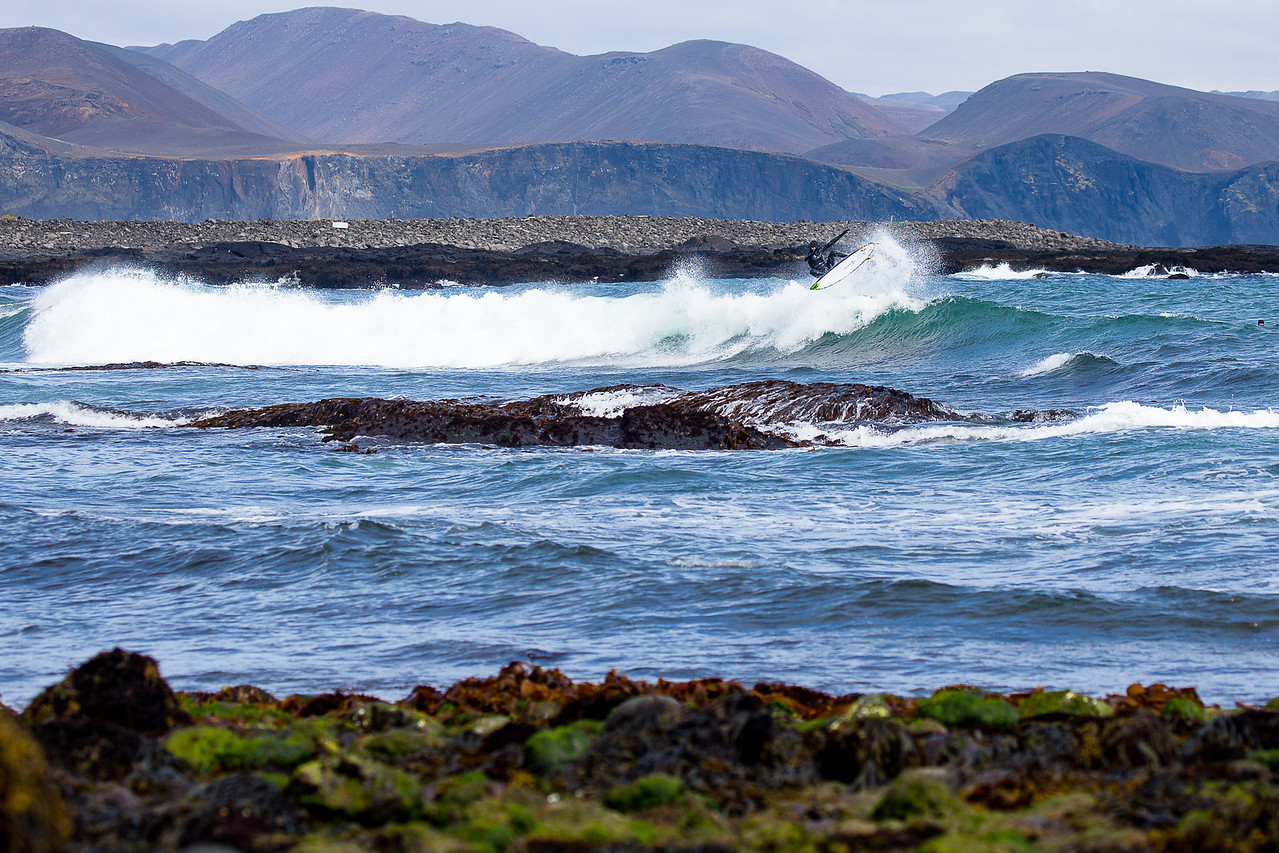 Otto Flores surfing southern Iceland