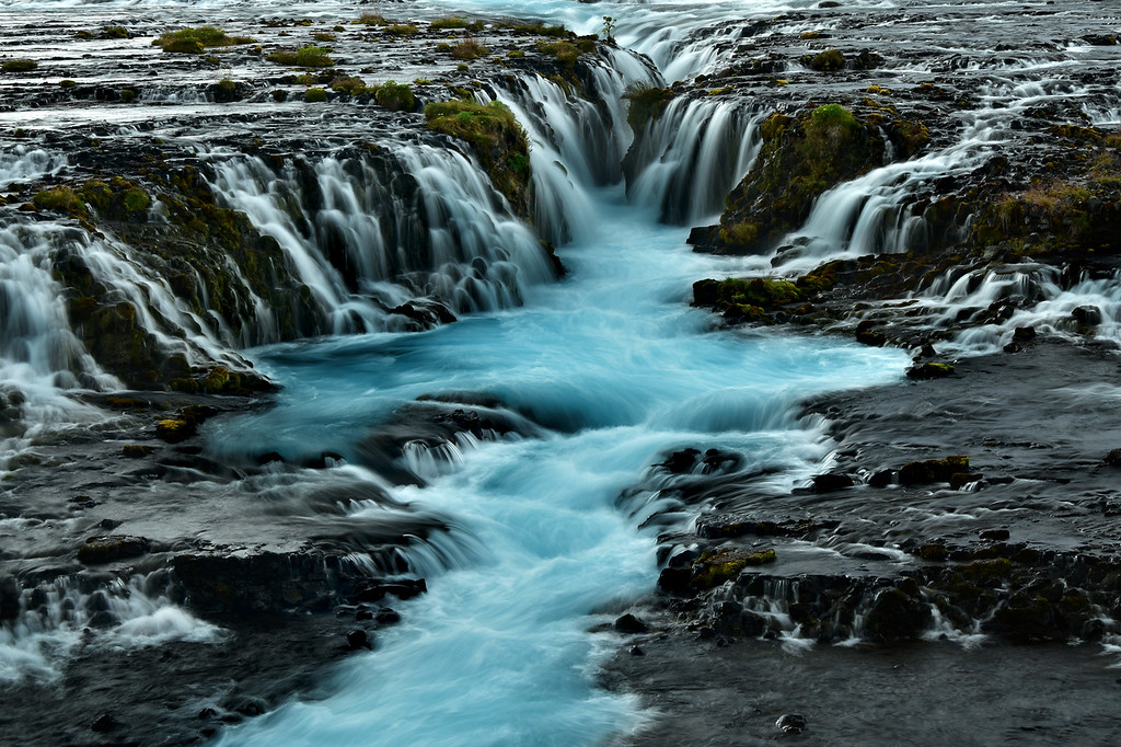 Small cascades of Bruarfoss Waterfall, Iceland
