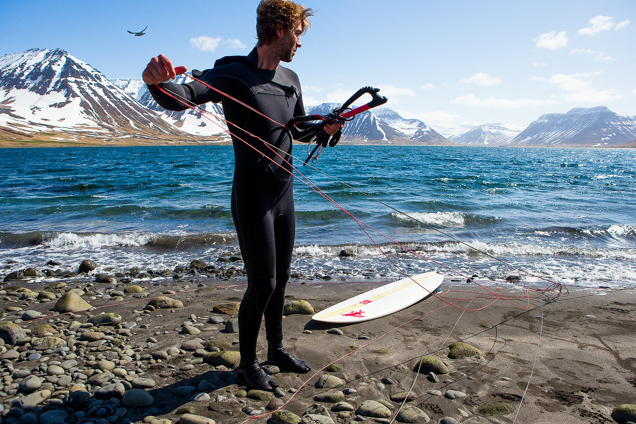 Kohl Christensen kiting in Iceland fjord