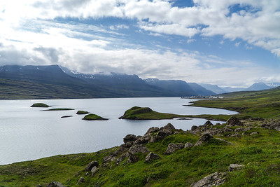 View Over a Fjord and Islands in Eastern Iceland