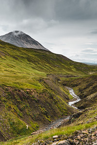Icelandic River Cutting Through Backcountry on a Cloudy Day