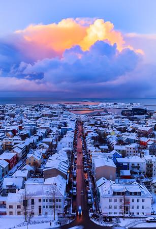 Skies above Reykjavik