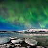 Northern Lights and icebergs over Glacier Lagoon, Jokulsarlon, Iceland