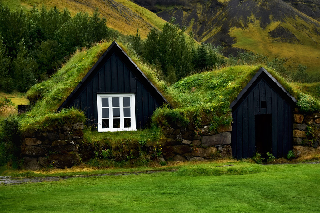 Old houses with green roofs in Iceland