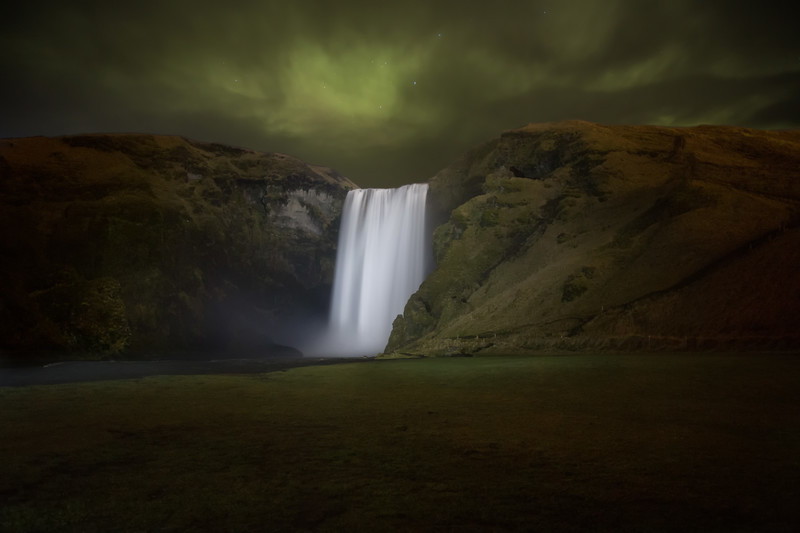 Northern Lights over Skogafoss, Iceland