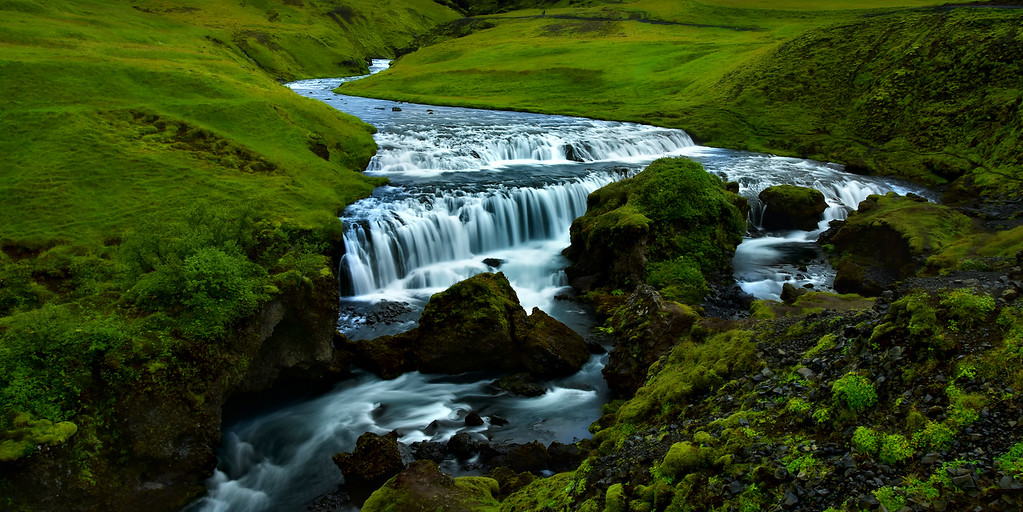 Top of Skogarfoss waterfall, Skoga River, Iceland