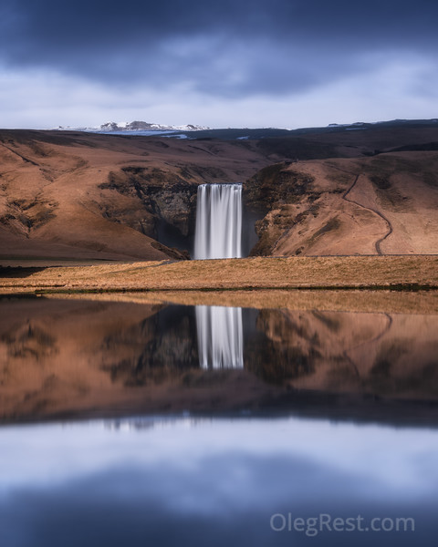 Skogafoss reflection