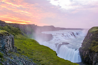Gulfoss waterfall, taken at 2:30am with the hours of golden light.