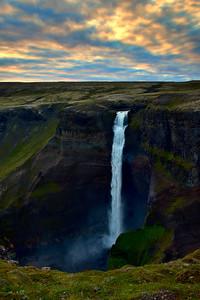 Haifoss Waterfall at Sunset, Iceland