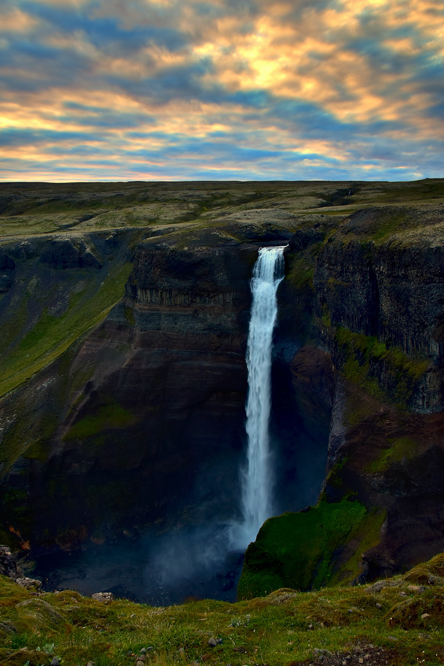 Haifoss Waterfall at Sunset, Iceland
