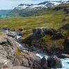 Waterfall in southeastern Iceland.