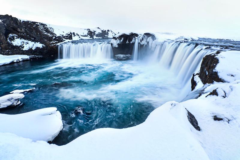 Godafoss Waterfall in Winter