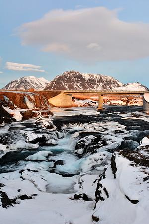 Water running douwn glacier everywhere