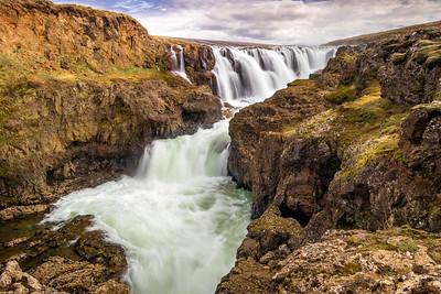 Waterfall (Foss) in North Iceland near Varmahlíð