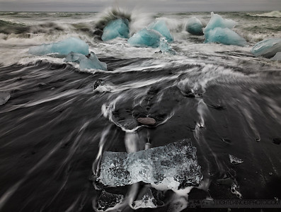 Power - Icebergs crash on the beach near Jokulsarlon, Iceland