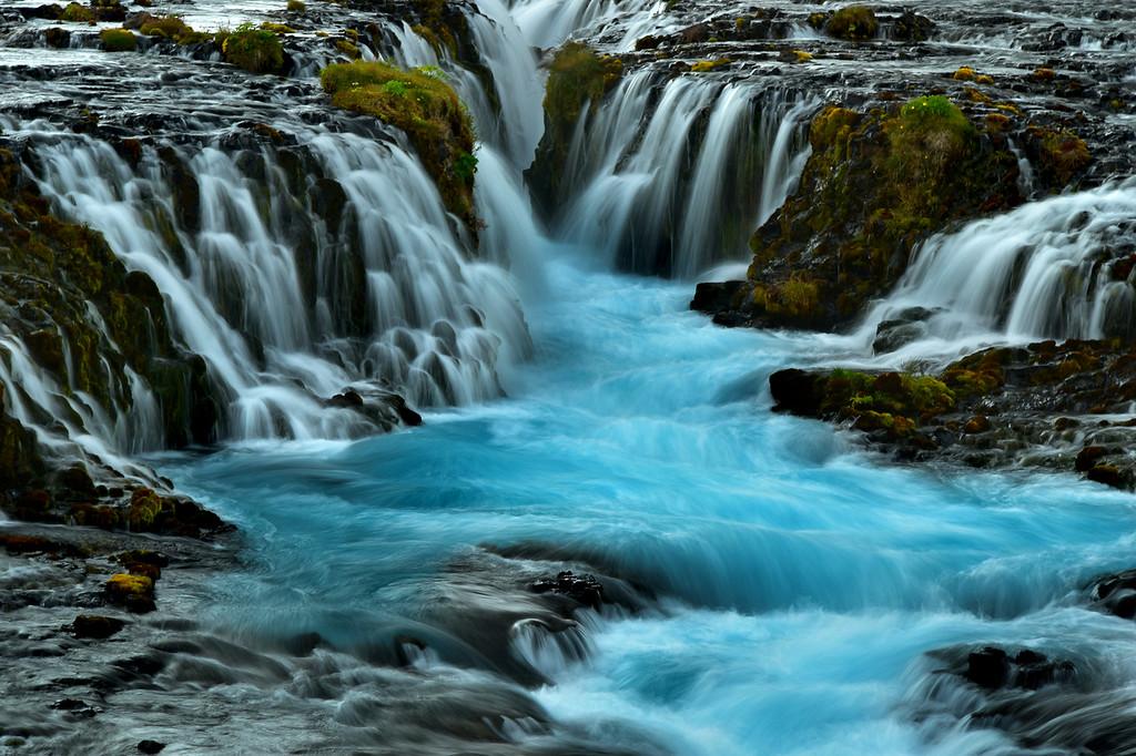 Bruarfoss Waterfall close up, Iceland