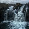 Kirjufellfoss Waterfall Closeup by Drone