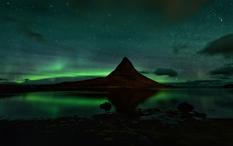 Kirkjufell Mountain Aurora Reflections