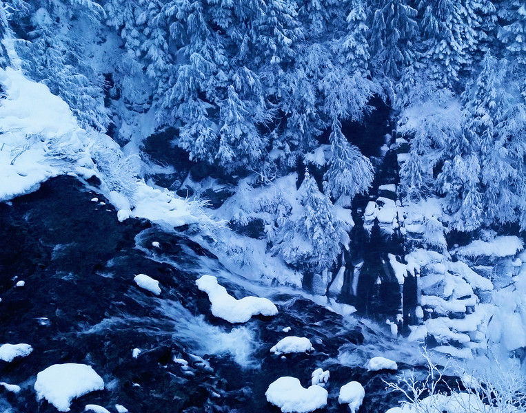 Icescape: Narada Falls Fleeing Into Blue Hour
