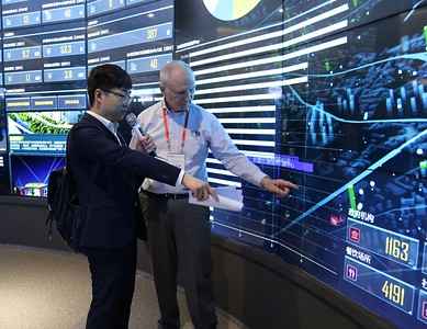 Mike Garvey getting a demonstration of the big data capabilities in District Command Center in QingDao