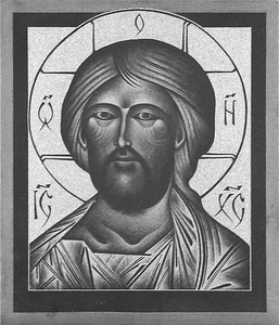 Christ Pantocrator (shoulder style) engraved